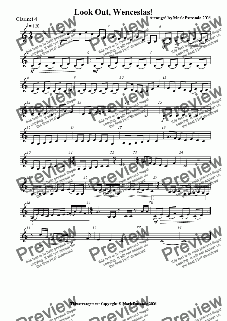 page one of the Clarinet 4 part from Look Out, Wenceslas! Clarinet Quartet