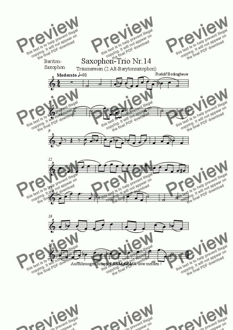 page one of the Baryton-Saxophon part from Saxophon-Trio Nr.14