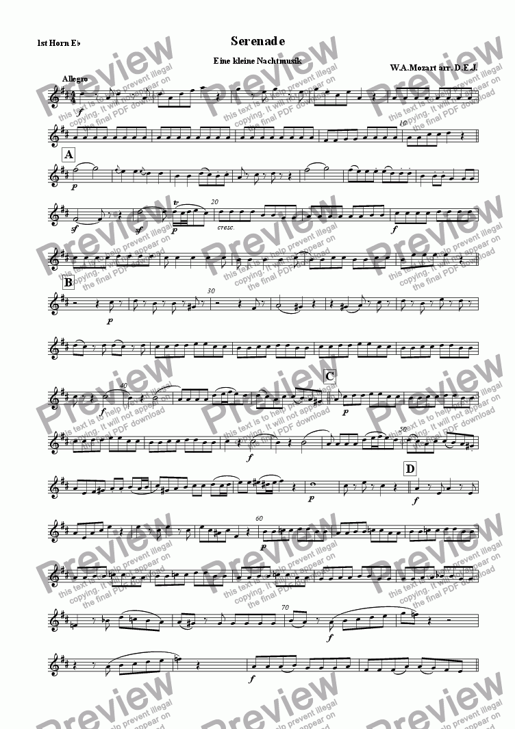 page one of the 1st. Horn Eb part from Eine Kleine Nachtmusik, K525. Serenade