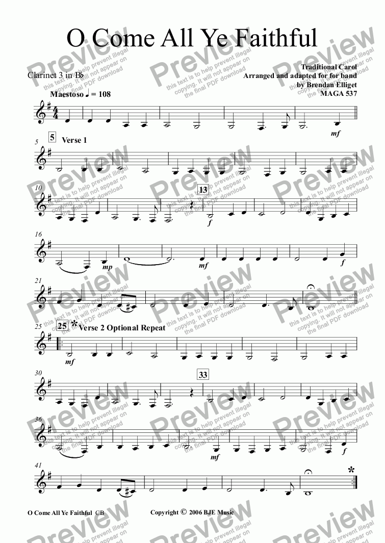 page one of the Clarinet 3 part from O Come All Ye Faithful (Christmas) - Concert Band