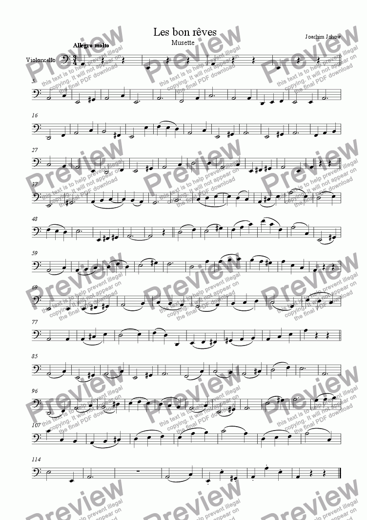 page one of the Vlc part from Orchester-Musette 08 (Les bon reves)
