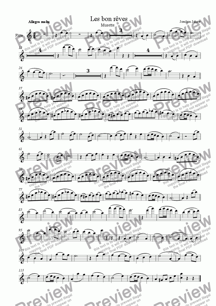 page one of the Fl part from Orchester-Musette 08 (Les bon reves)