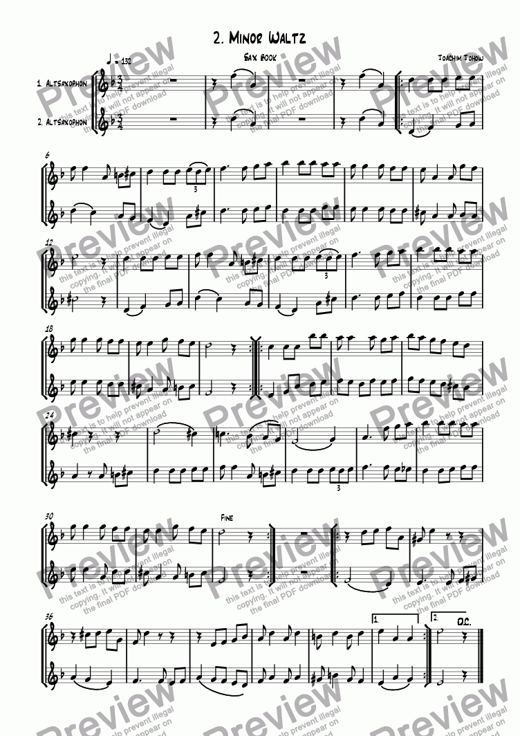 page one of the 1. u. 2. Alto Sax part from Sax book 02 (Minor waltz)