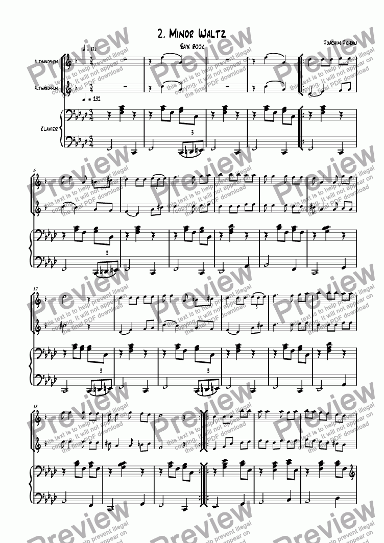 page one of the Piano and Sax part from Sax book 02 (Minor waltz)