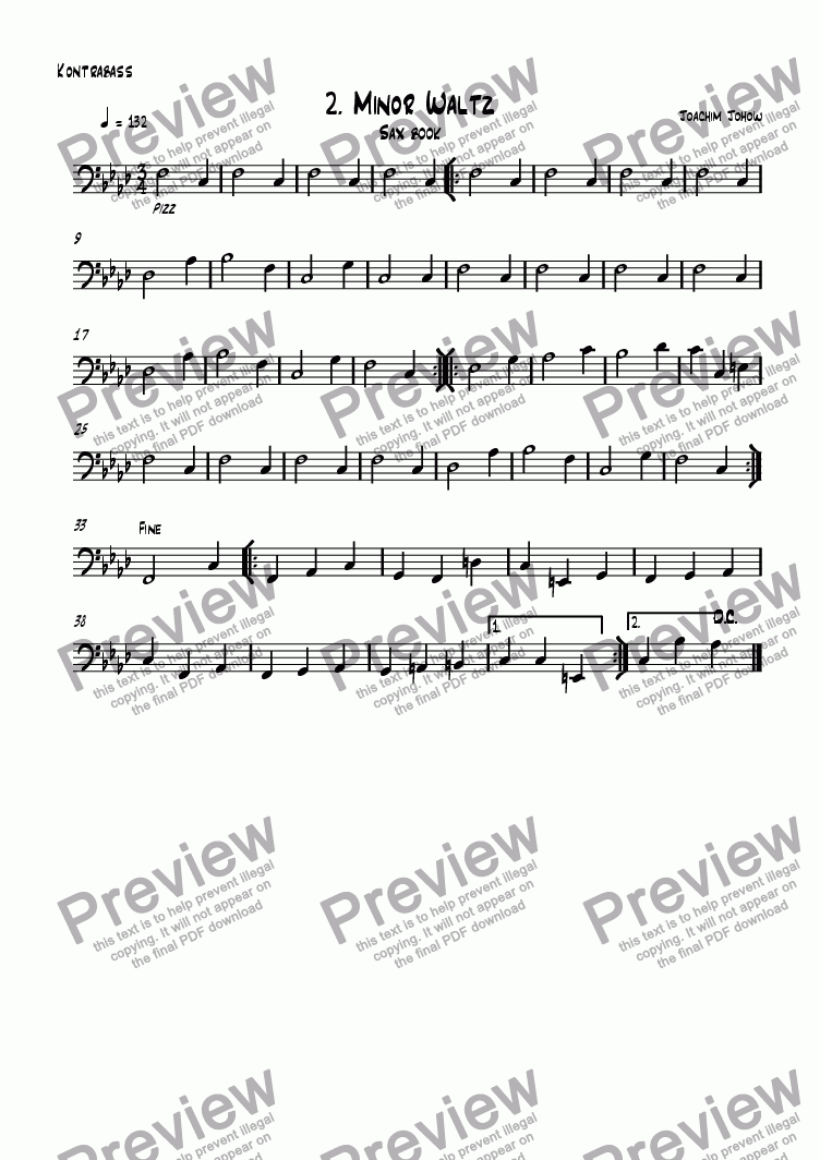 page one of the bass part from Sax book 02 (Minor waltz)