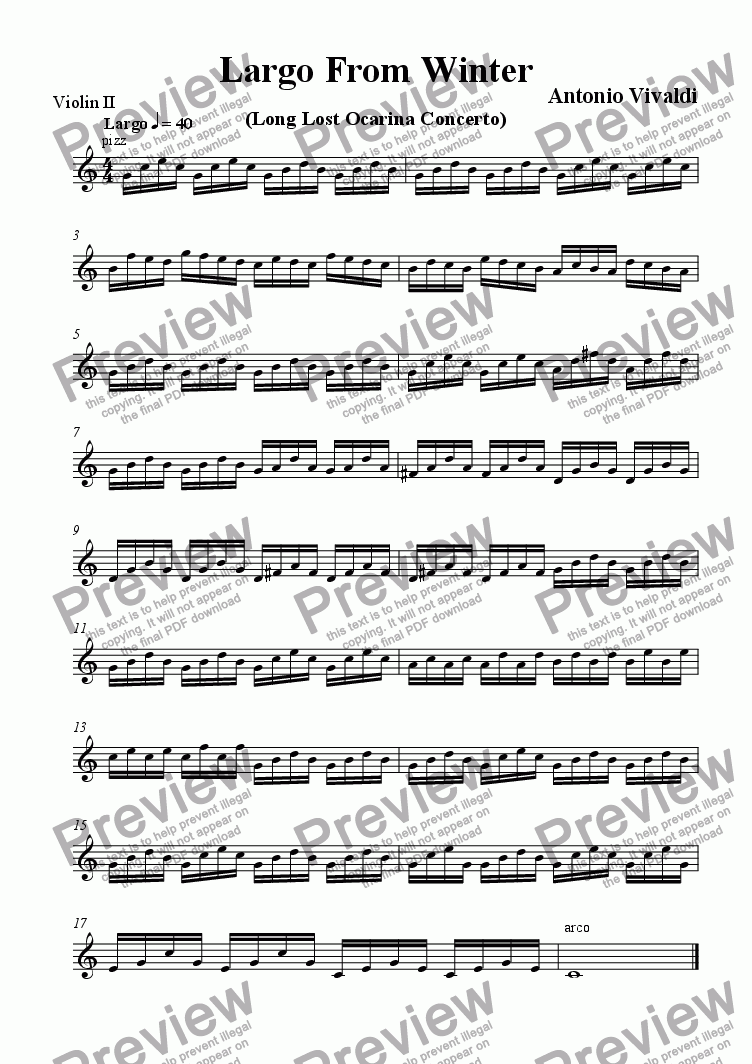 page one of the Violin 2 part from Long Lost Ocarina Concerto Movement
