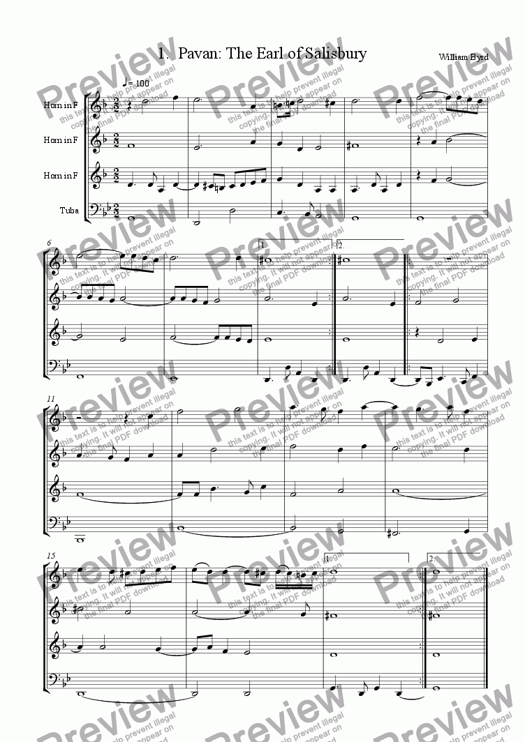page one of the F-Score part from Earl of Salisbury's Pavane (Brass 4tet)