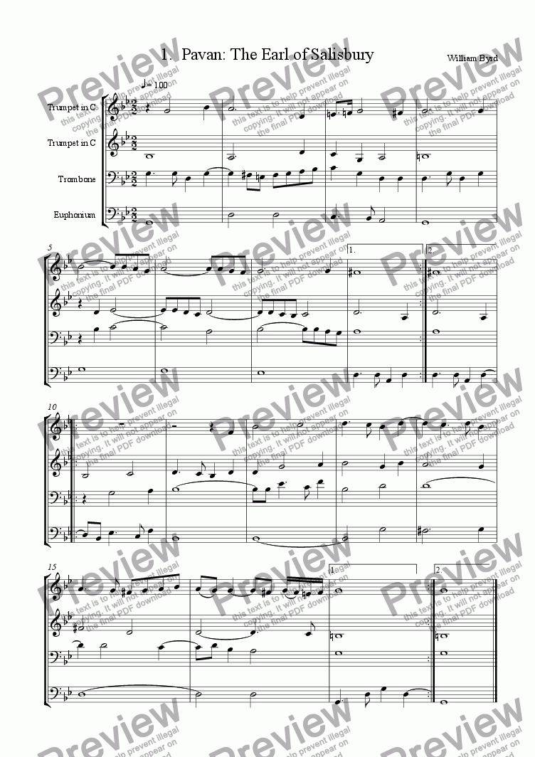 page one of the C-Score part from Earl of Salisbury's Pavane (Brass 4tet)