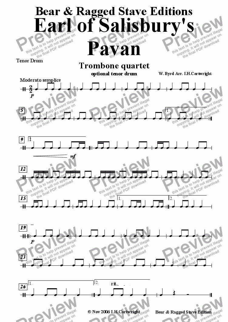 page one of the tenor drum part from Earl of Salisbury's Pavan for trombone quartet