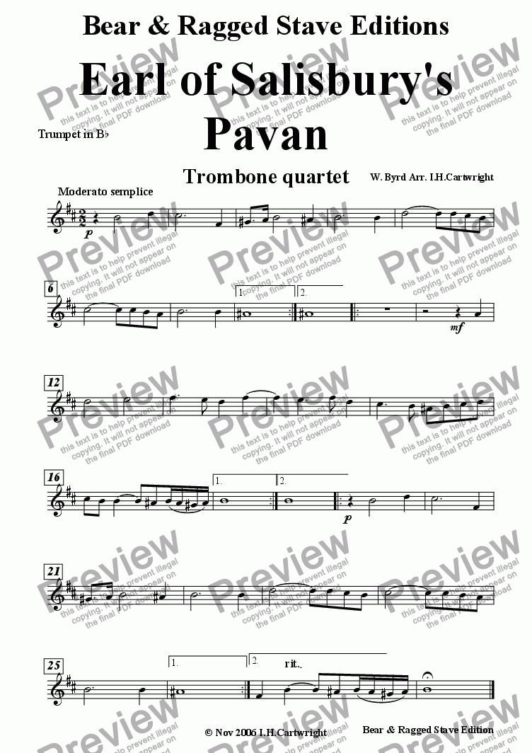 page one of the trumpet Bb part from Earl of Salisbury's Pavan for trombone quartet