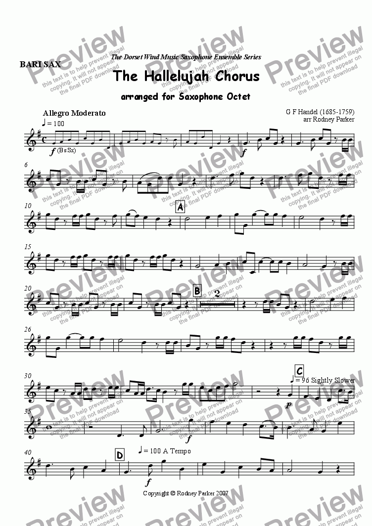 page one of the Bari Sax part from The Hallelujah Chorus arr for Sax Octet