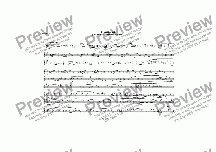 page one of the clarinet 1 part from Beyond The Call