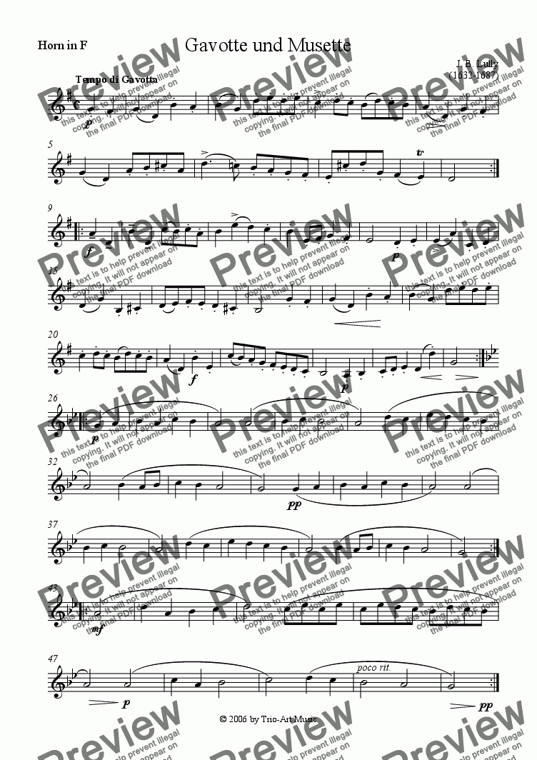 page one of the Horn part from Gavotte and Musette for horn and piano