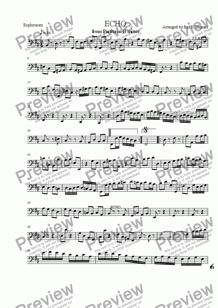 page one of the Euphonium part from ECHO' from Partita in B minor