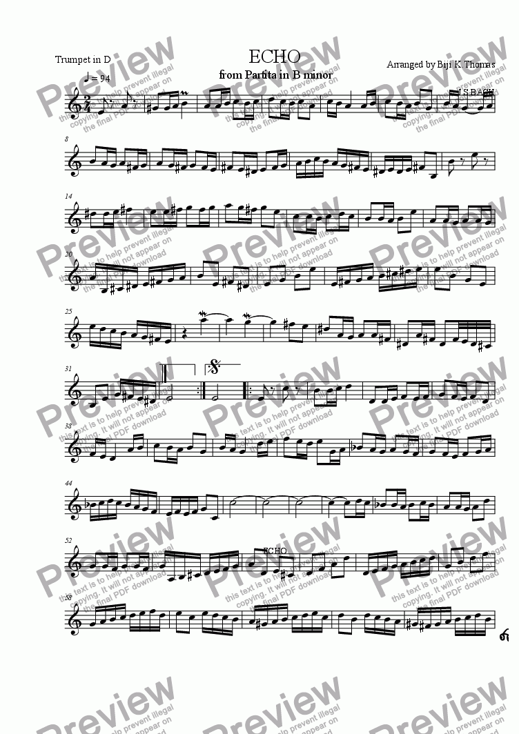 page one of the Trumpet part from ECHO' from Partita in B minor
