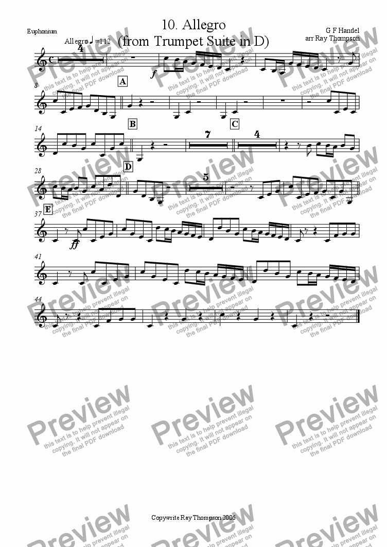 page one of the Euphonium (Treble Clef) part from Water Music Suite: Mvt.10 Allegro (from the Trumpet Suite in D)
