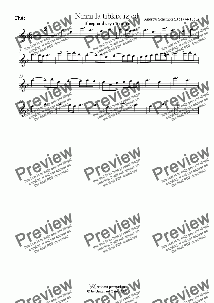 page one of the Flute part from Ninni la Tibkix Izjed (Maltese Christmas Song) - Download Sheet Music