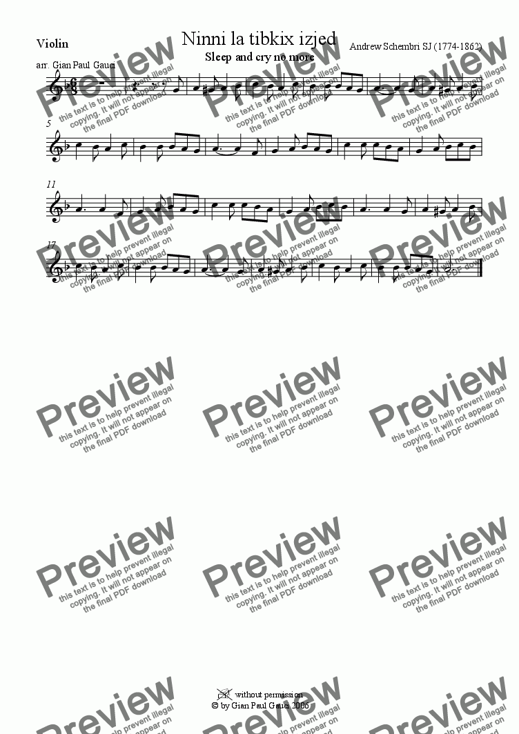 page one of the Violin part from Ninni la Tibkix Izjed (Maltese Christmas Song) - Download Sheet Music