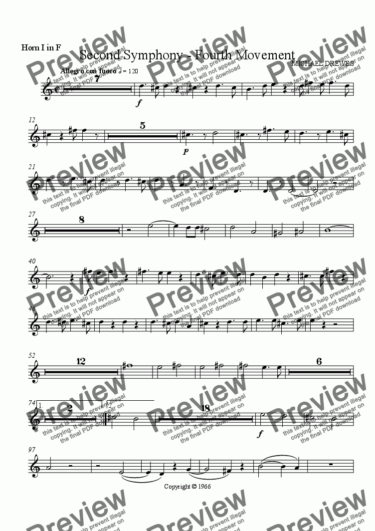 page one of the Horn I part from Symphony No. 2, Movement 4 (Orchestrated Version)