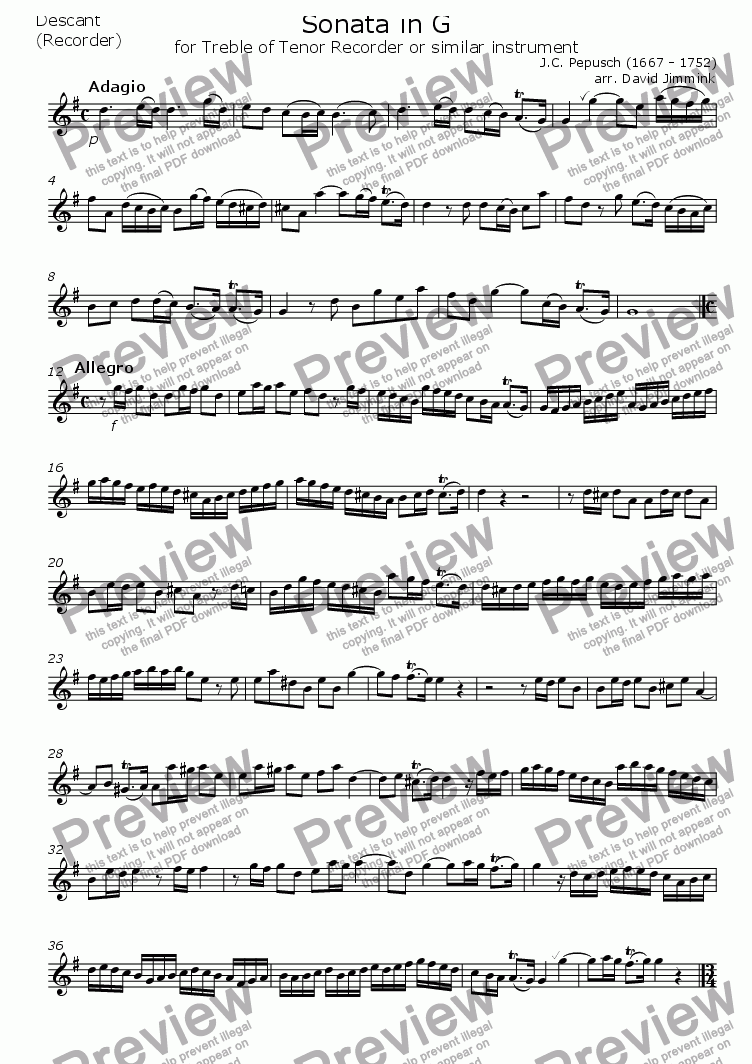 page one of the Treble or Tenor Recorder part from Sonata in G