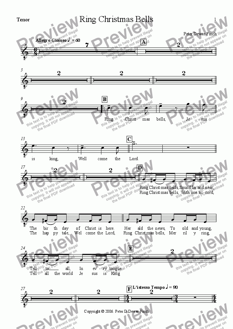 page one of the Tenors part from Ring Christmas Bells