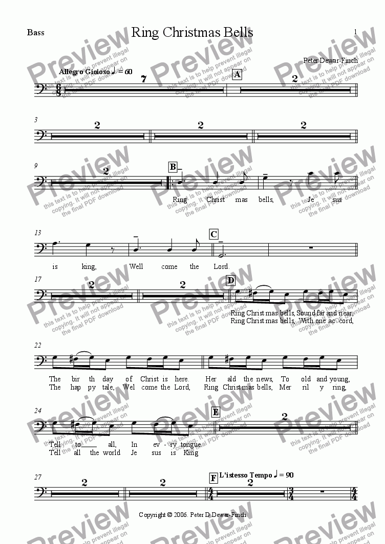page one of the Bass part from Ring Christmas Bells