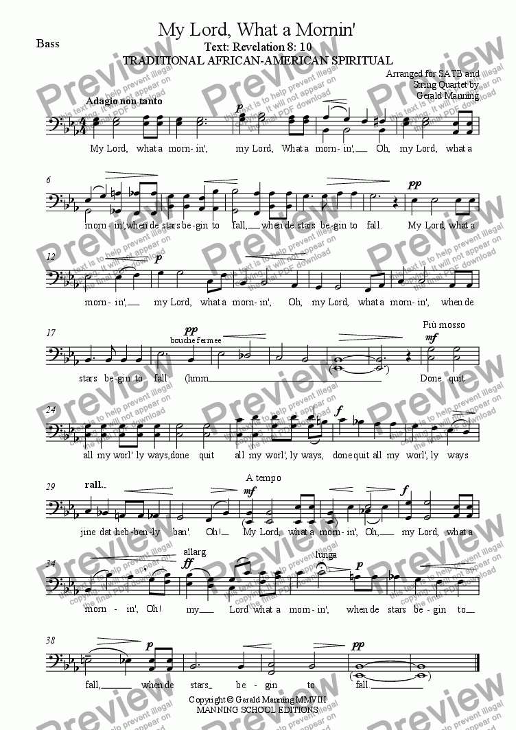 page one of the Bass part from African - American Spirituals - My Lord, What a Mornin' - arranged for SATB, and String Quartet by Gerald Manning