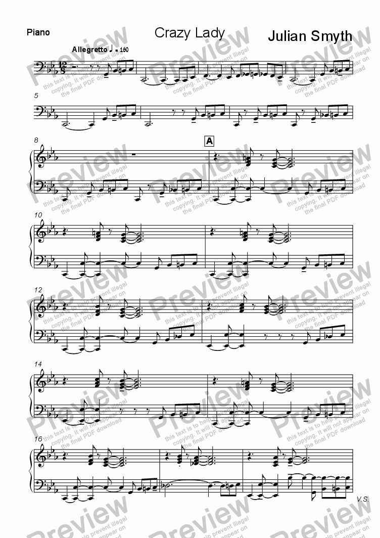 page one of the Piano part from Crazy Lady  (Modal Blues)