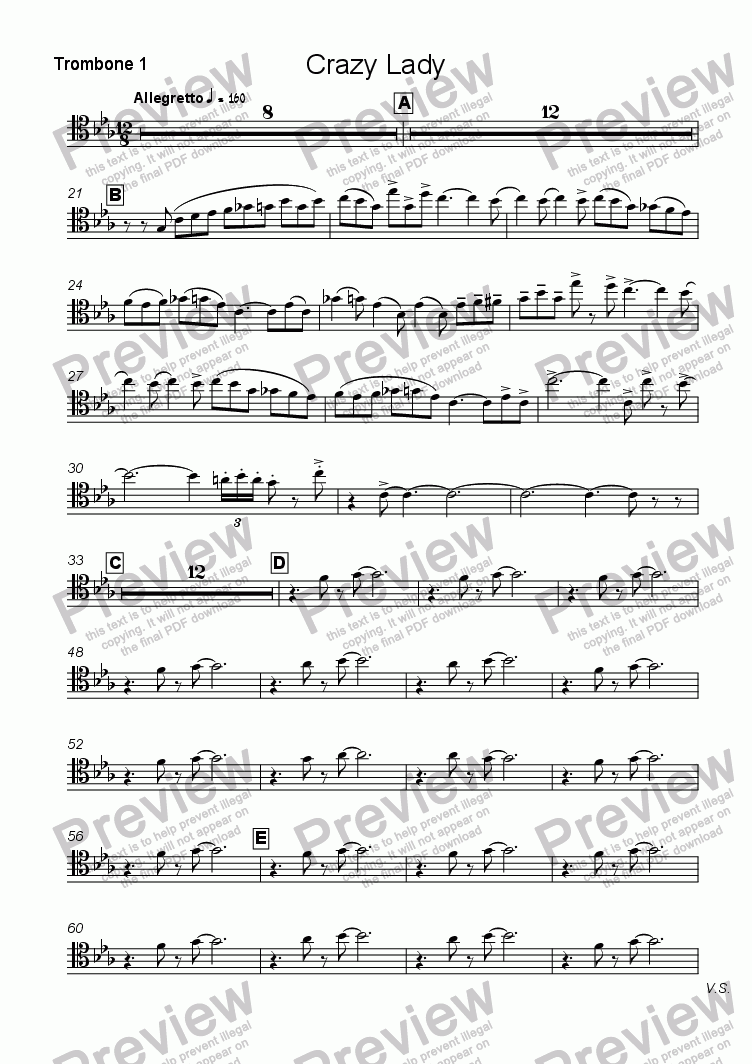 page one of the Trombone 1 part from Crazy Lady  (Modal Blues)