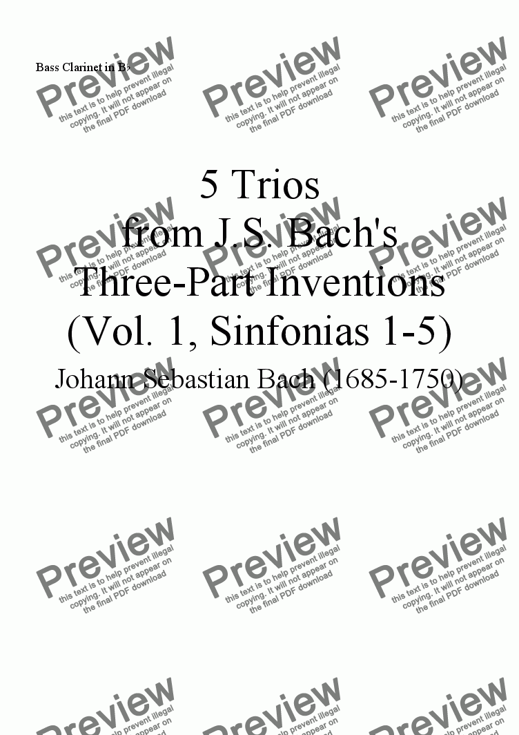 page one of the Bass Clarinet part from Trios from Bach's Three-part Inventions, Vol. 1 (Nos. 1-5), for Flute, Clarinet, and Bass Clarinet