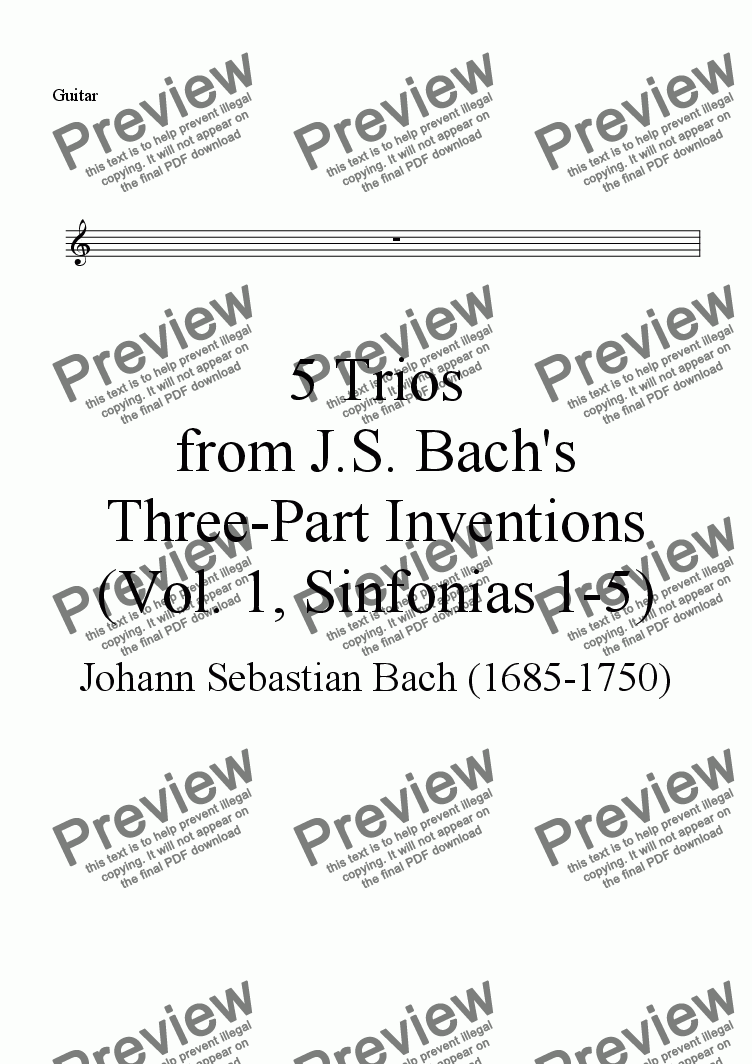 page one of the Guitar (sub Bassoon) part from Trios from Bach's Three-part Inventions, Vol. 1 (Nos. 1-5), for Flute, Clarinet, Bassoon OR Guitar