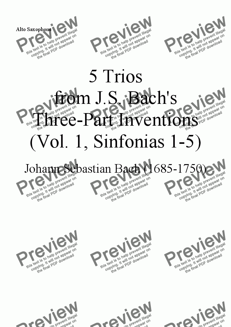 page one of the Alto Sax part from Trios from Bach's Three-part Inventions, Vol. 1 (Nos. 1-5), for Soprano Sax, Alto Sax, and Tenor Saxophone