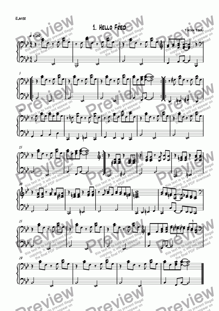 page one of the Piano part from Sax book 01 (Hello Fred)