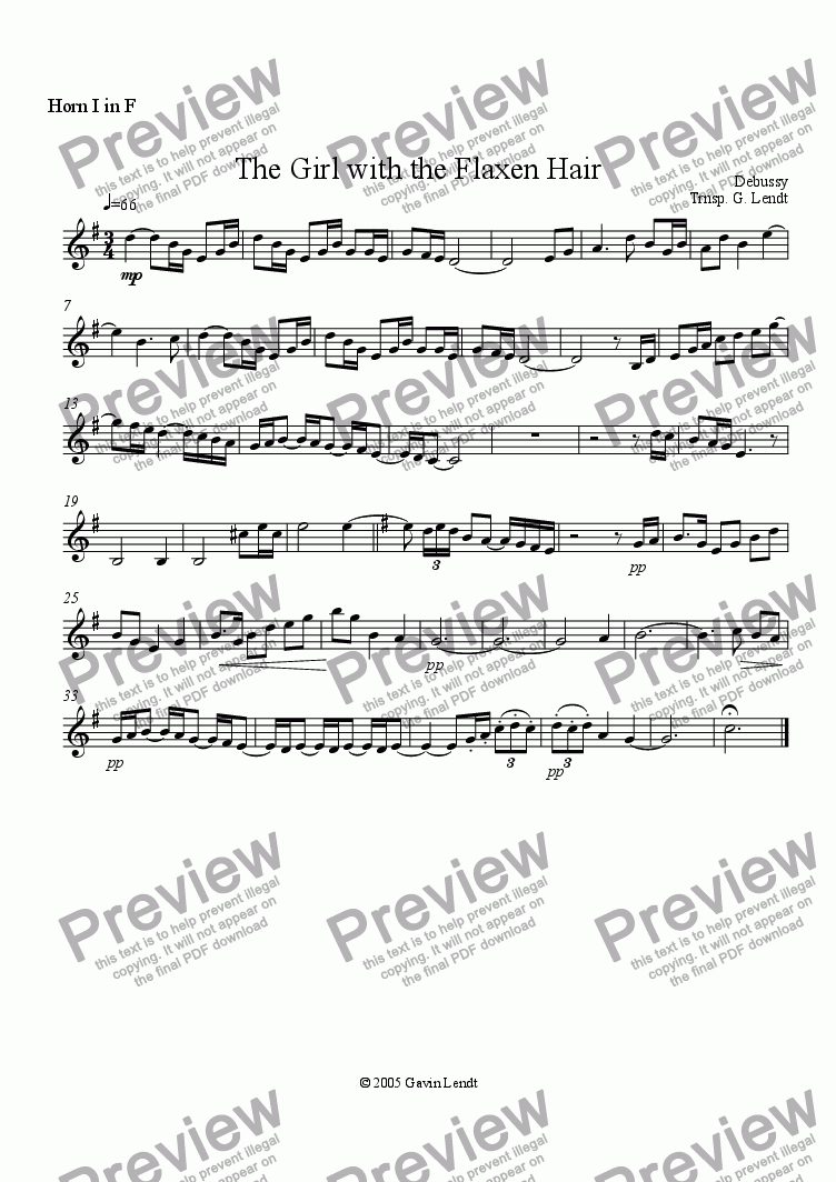 page one of the Horn 1 part from Girl With the Flaxen Hair (Horn Quartet)