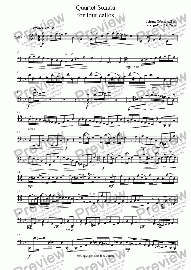 page one of the cello 1 part from Bach - QUARTET SONATA - for cello quartet