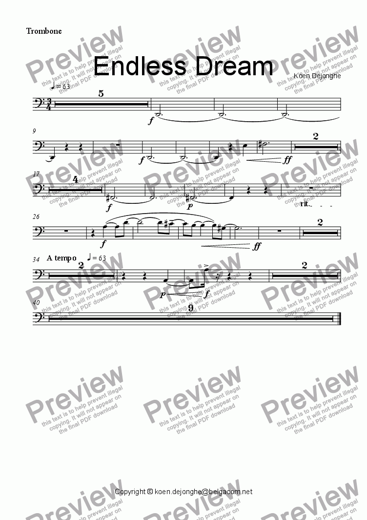 "page one of the Trombone part from ""Endless Dream"" for Ensemble"