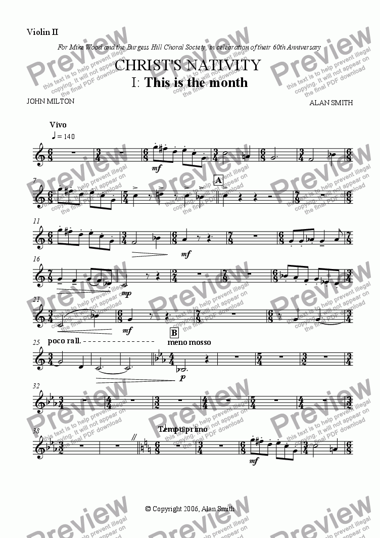 page one of the Violin II part from Christ's Nativity (Full score - complete)