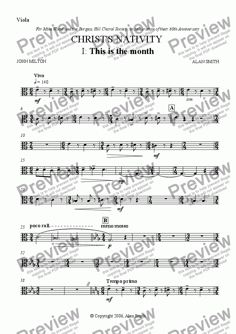 page one of the Viola part from Christ's Nativity (Full score - complete)
