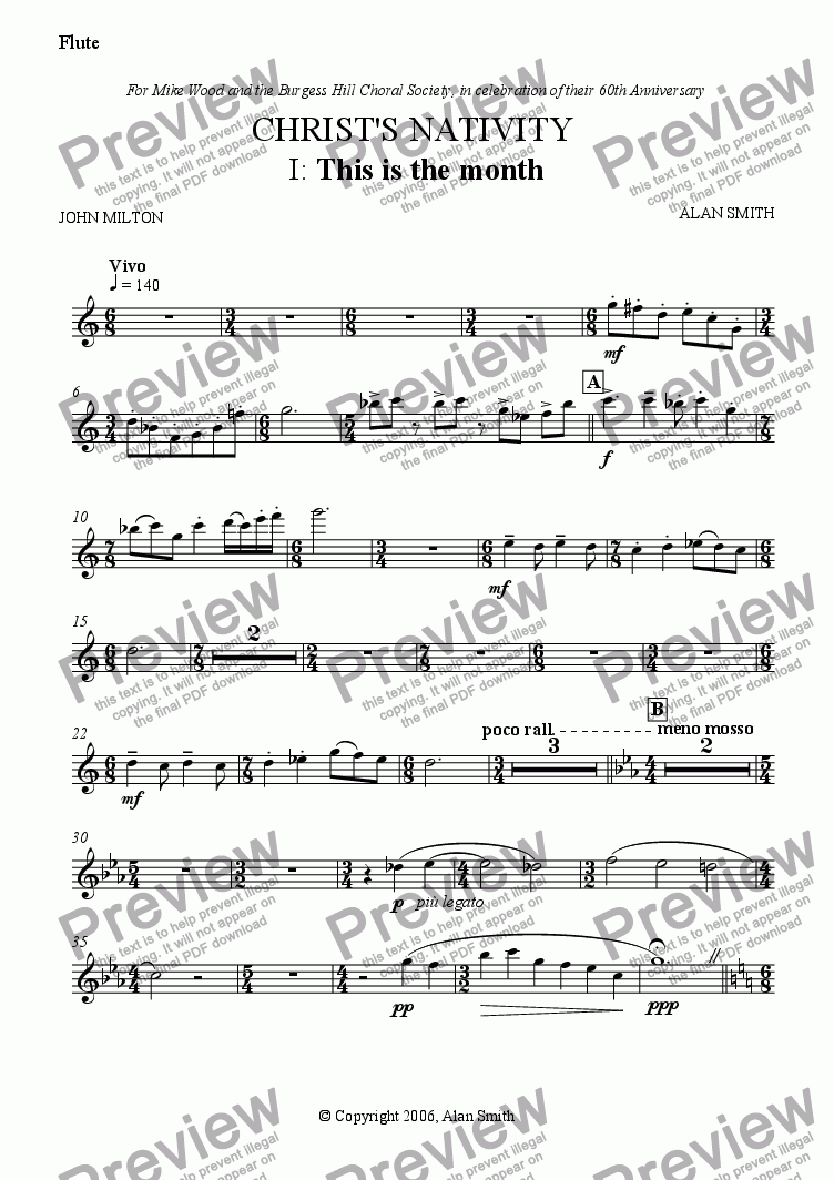 page one of the Flute part from Christ's Nativity (Full score - complete)