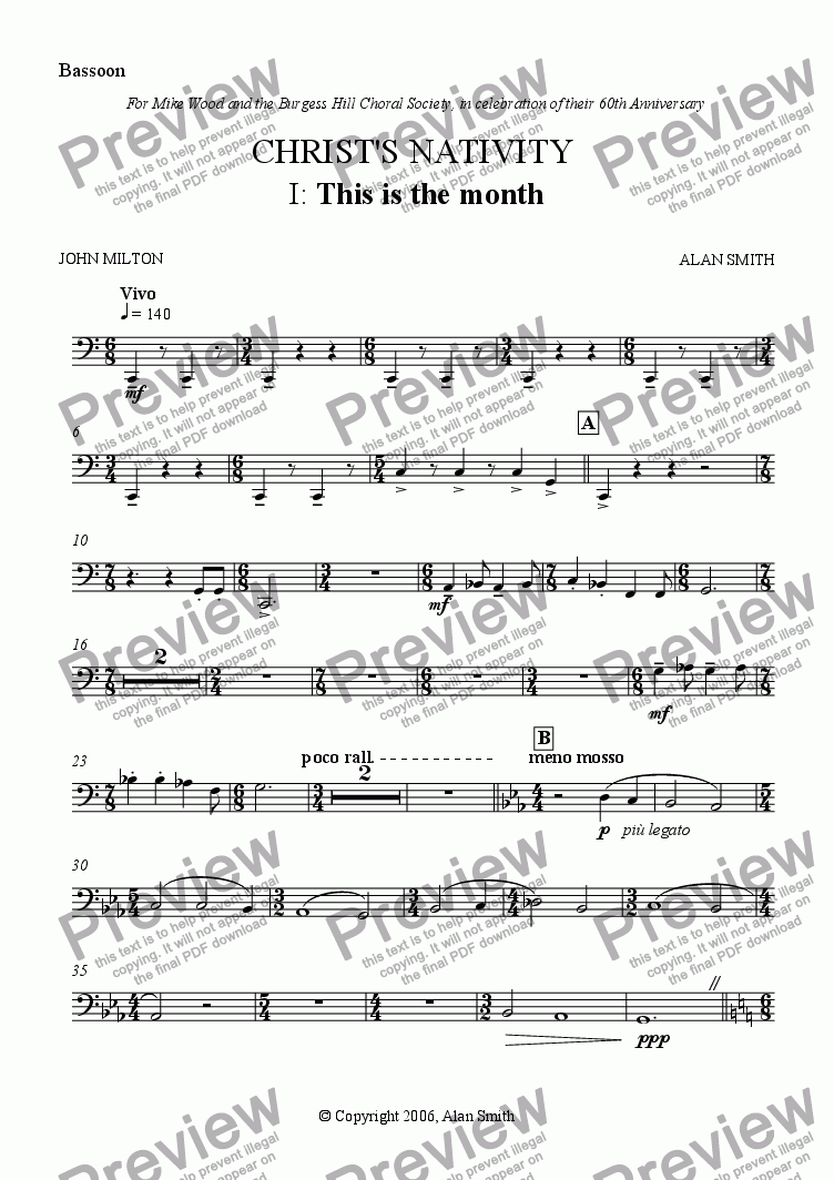 page one of the Bassoon part from Christ's Nativity (Full score - complete)