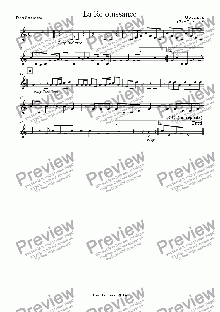 page one of the Tenor Sax part from Handel: La Rejouissance from The Music for the Royal Fireworks (Feuerwerksmusik) - concert band