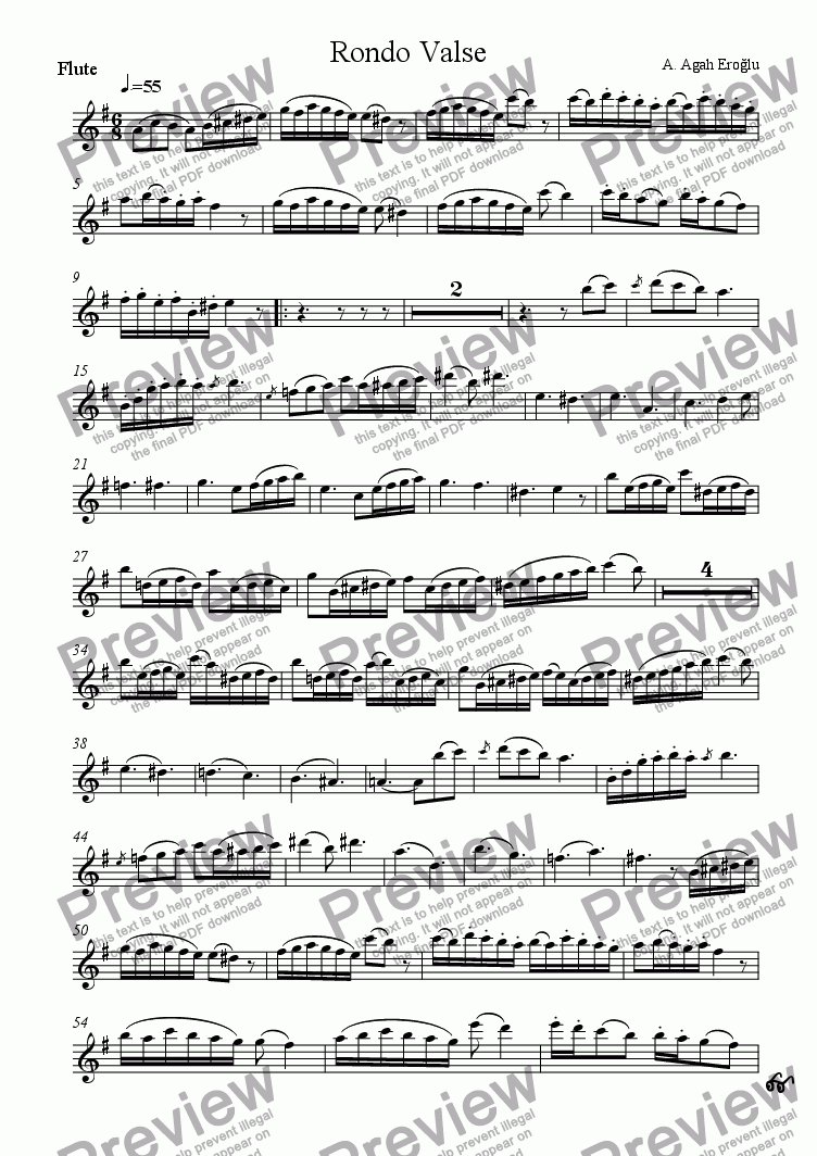 page one of the Flute part from Rondo Valse for Flute, Violin and Guitar