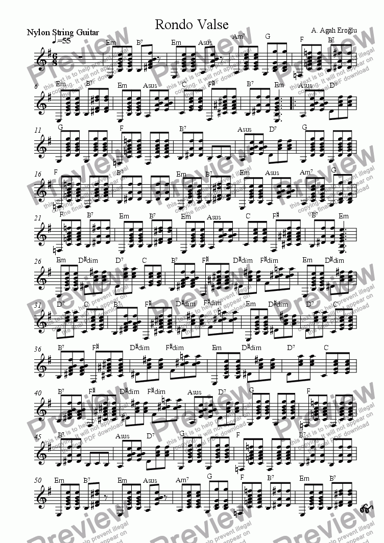 page one of the Guitar part from Rondo Valse for Flute, Violin and Guitar