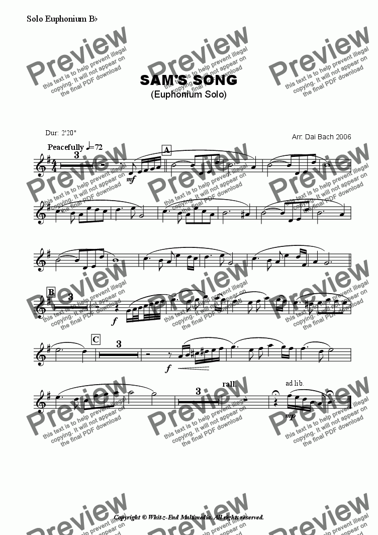 page one of the Solo Euphonium part from Sam's Song (Euphonium Solo)