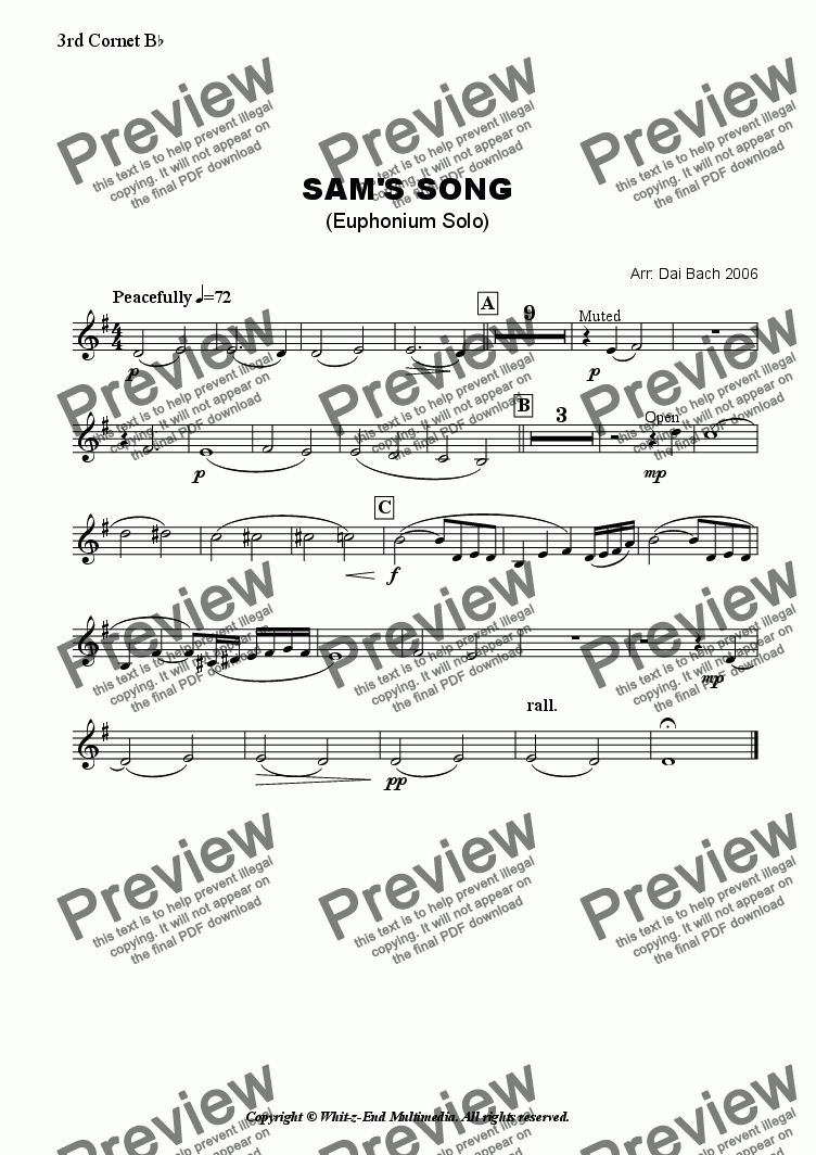 page one of the 3rd Cornet part from Sam's Song (Euphonium Solo)
