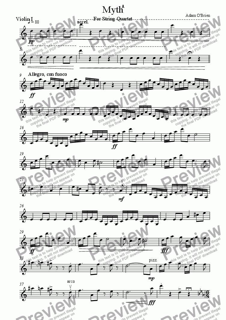 page one of the Violin 1 part from Myth for String Quartet