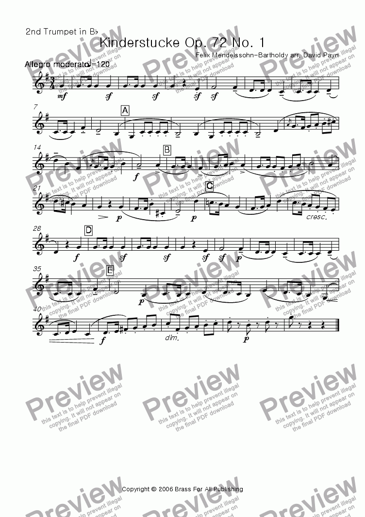 page one of the Trumpet 2 in Bb part from Kinderstucke Op. 72 No. 1 for brass quartet