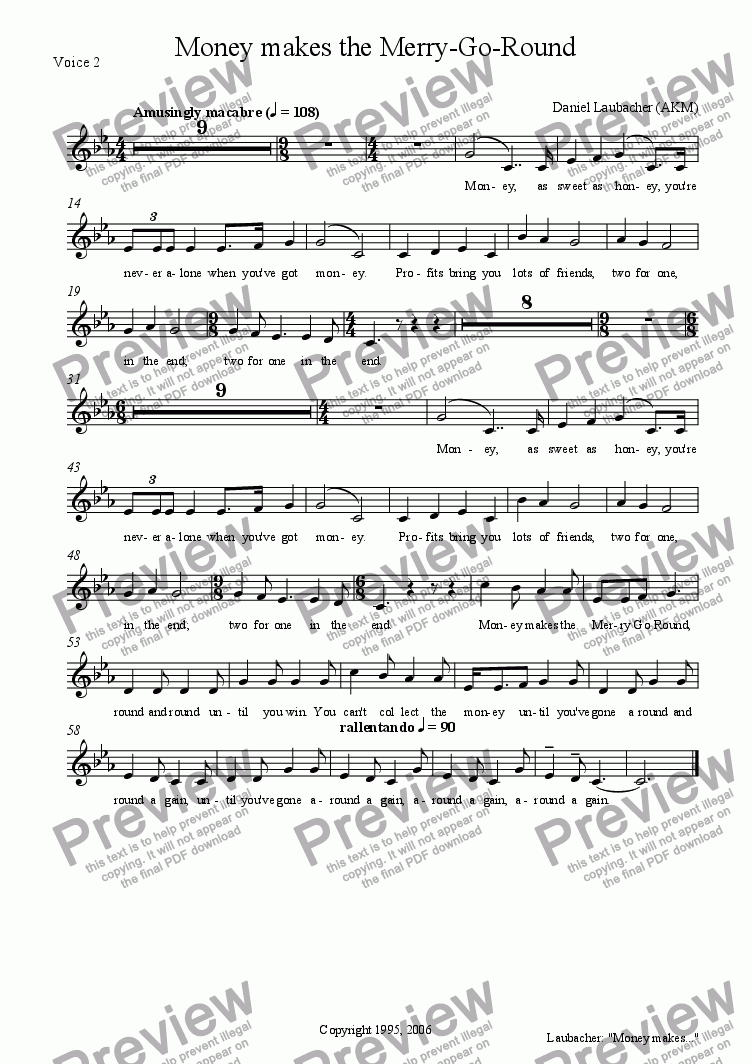 "page one of the Voice 2 part from MONEY MAKES THE MERRY-GO-ROUND from the Musical ""Company Policy"""
