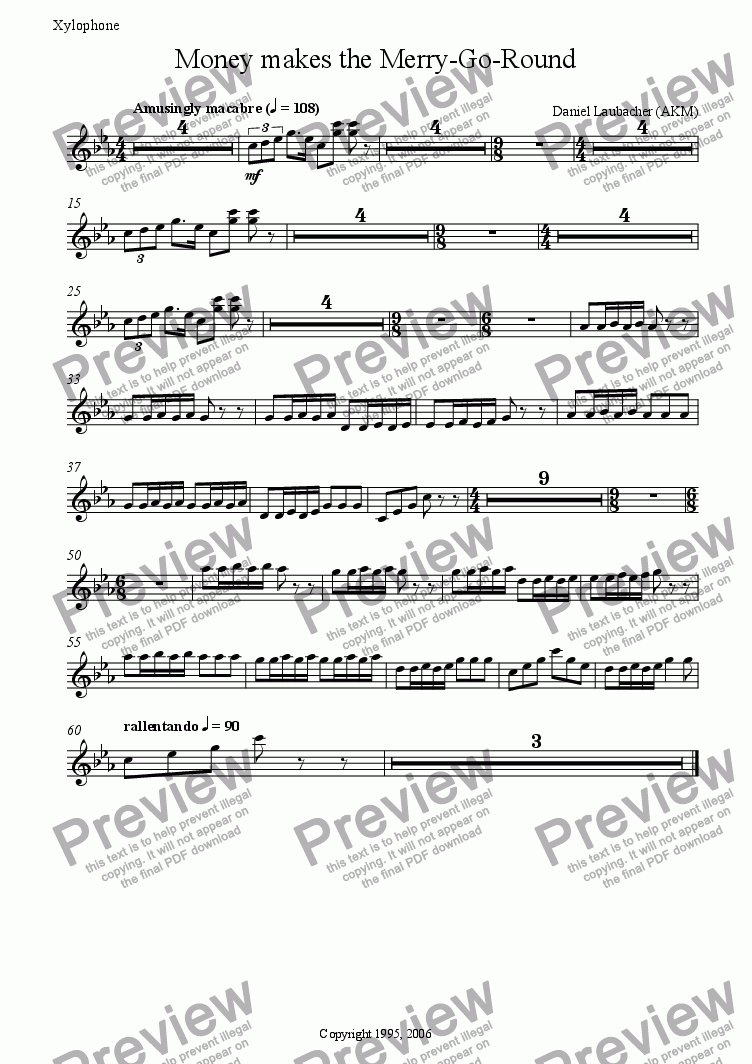 "page one of the Xylophone part from MONEY MAKES THE MERRY-GO-ROUND from the Musical ""Company Policy"""