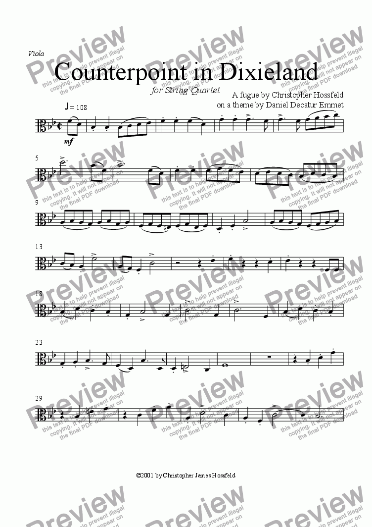 page one of the Viola part from Counterpoint in Dixieland